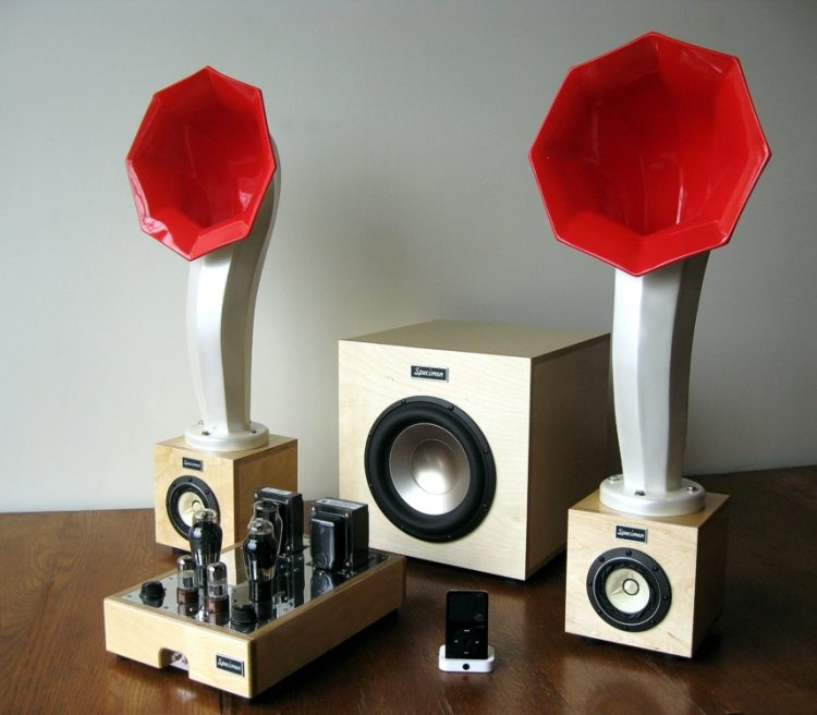Specimen Little Horn Speakers, Hi Fi Stereo Tube Amplifier and 300-watt Subwoofer