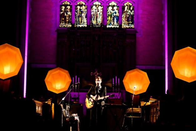 Andrew Bird onstage with Specimen Horn Speakers -2009