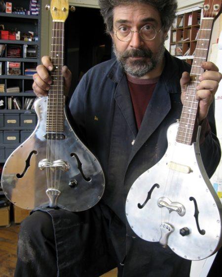 Ian Schneller and his Specimen Aluminum Electric Tenor Guitars