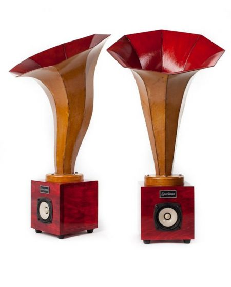 Specimen Hornling Audio Speakers in Dark Red