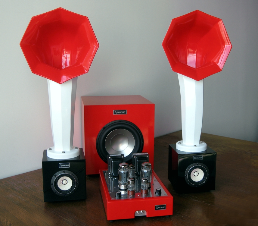 Specimen 300-watt Subwoofer, Little Horn Speakers and Hi-FI Stereo Tube Amplifier