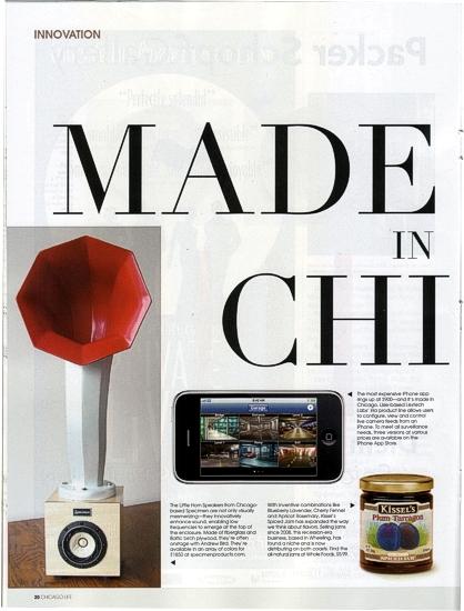 Chicago Life Magazine featuring Specimen Little Horn Speakers