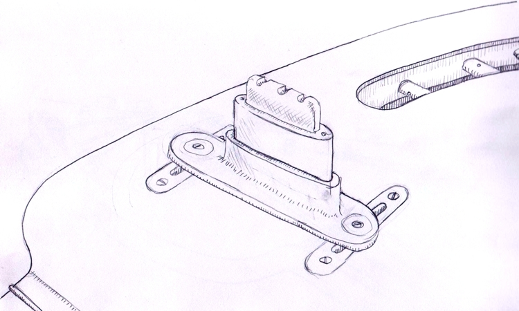 Drawing of custom nut created for Specimen's Electric Lute