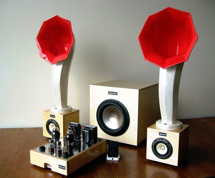 Specimen Hi-Fi Stereo Tube Amplifier, Little Horn Speakers and 300-watt Subwoofer