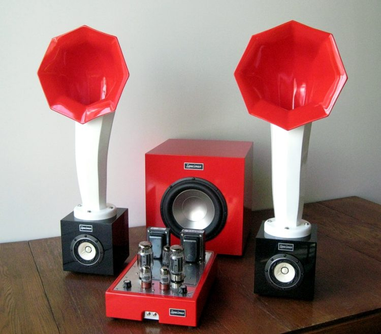 Specimen Hi-Fi Stereo Tube Amplifier, Little Horn Speakers, and 300-watt Subwoofer
