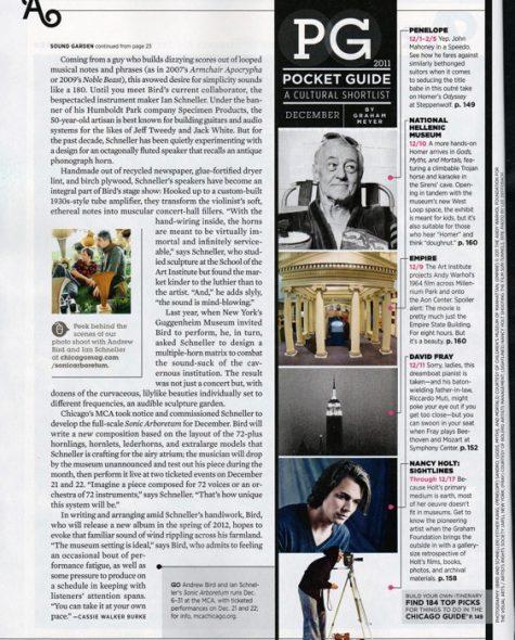 Chicago Magazine feature about Andrew Bird & Ian Schneller's Sonic Arboretum