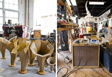 Photos taken at Specimen Products during the building of the Sonic Arboretum Exhibit for MCA Chicago