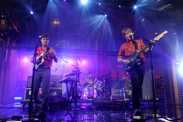 Alex Kapranos of Franz Ferdinand on the Late Show with David Lettermen playing the Specimen Emerald Deluxe